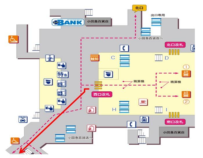 小田急町田駅西口横浜銀行前 タクシー乗り場地図