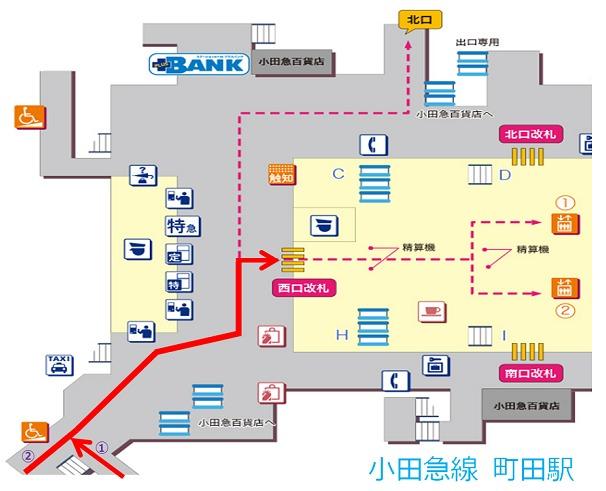 小田急線町田駅、横浜線からの乗り換え案内図