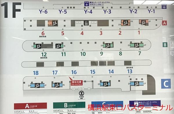 横浜駅東口バスターミナル案内図