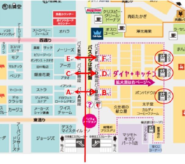 横浜駅相鉄ジョイナス(B1 地下街)バス乗り場