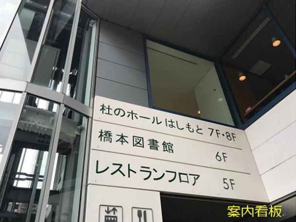 橋本図書館の案内看板