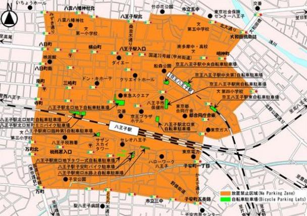 八王子駅周辺の自転車等放置禁止区域図
