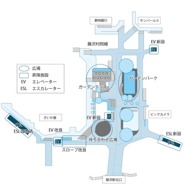 藤沢駅北口ペデストリアンデッキ(サンパール広場)