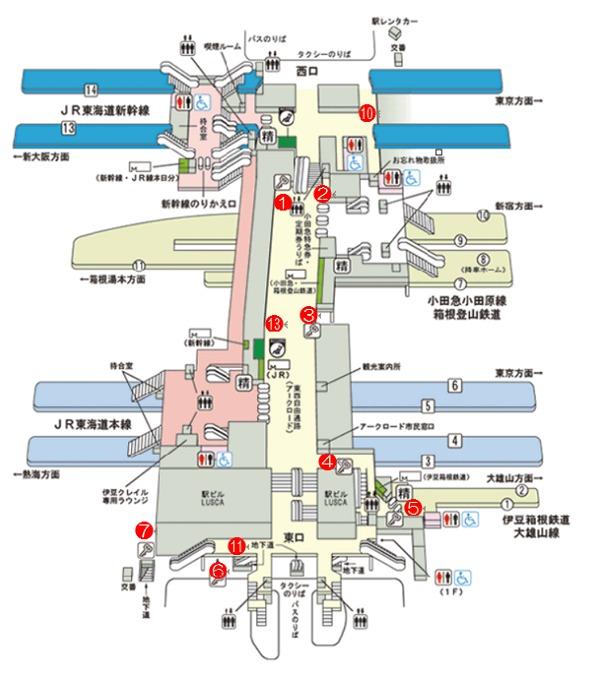 小田原駅ローカー配置図