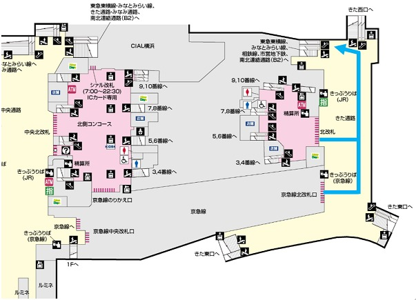 東横横浜市営地下鉄までの経路①