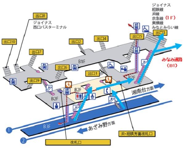 横浜市営地下鉄(横浜駅)構内図